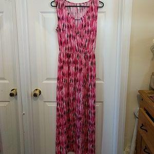 Pink maxi dress.
